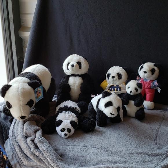 Lot of 7 Vintage Plush Stuffed Panda Bears